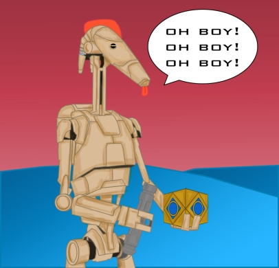 R-01 gets his hands on a Holocron and a Lightsaber
